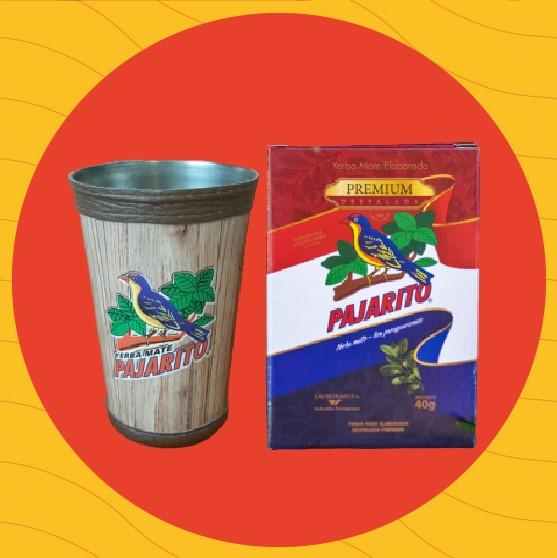 KIT Nuestra AMISTAD - Guampa, bombilla y 2 Yerba Pajarito Premium 40g